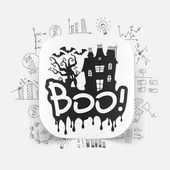 Boo icon with business formulas — Stock Vector