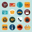 Set of fashion flat icons — Stock Vector #59049285