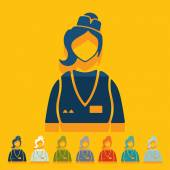 Saleswoman icons — Vector de stock