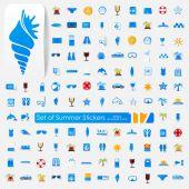 Set of summer stickers — Stock Vector