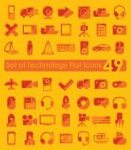 Conjunto de ícones plana de tecnologia — Vetor de Stock