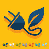 Eco plug leaf icon — Vector de stock