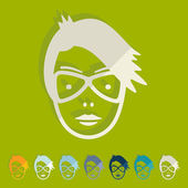 Face girl icon — Stockvektor