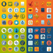 Set of education flat icons — Stockvektor