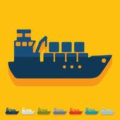 Icono de la nave de carga — Vector de stock