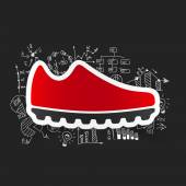 Sneakers icon with business formulas — ストックベクタ