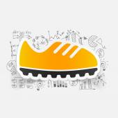 Sneakers icon with business formulas — Vetor de Stock