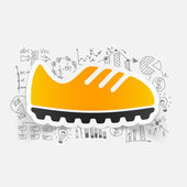 Sneakers icon with business formulas — Stock Vector