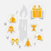Christmas sticker infographic — Stock Vector