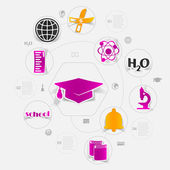 Education sticker infographic — Stock Vector