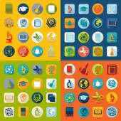 Set of education flat icons — Stock Vector