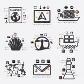 Maritime trucking infographic — Stock Vector