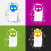 Drawing business formulas with skull — Vector de stock