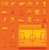 Set of football flat icons — Stock Vector
