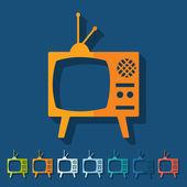 Płaska konstrukcja: stary telewizor — Wektor stockowy