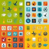 Conjunto de iconos plano educación — Vector de stock