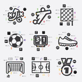 Football infographic icon — Stock Vector