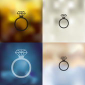 Ring icon on blurred background — Stock Vector