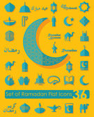 Set of ramadan flat icons — Stock Vector
