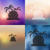 Palm icon on blurred background — Stock Vector
