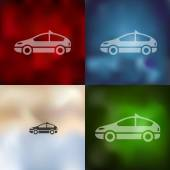 Car icon on blurred background — Stock Vector