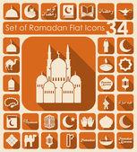 Conjunto de iconos plana ramadan — Vector de stock