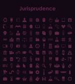Set of jurisprudence simple icons — Stock Vector