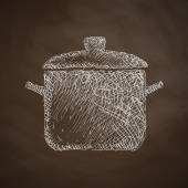 Saucepan icon on chalkboard — Vettoriale Stock