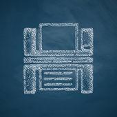Printer icon on blue — Stok Vektör