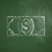 Money icon on chalkboard — ストックベクタ