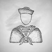 Sailor icon on chalkboard — Stock Vector