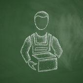 Longshoreman icon on chalkboard. — Stock Vector