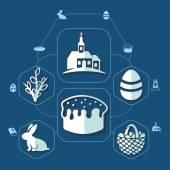 Easter flat infographic — Cтоковый вектор