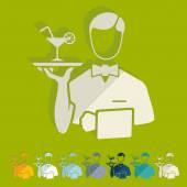 Flat design: waiter — Stock Vector