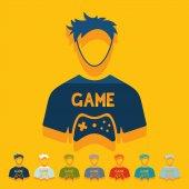 Flat design: gamer — Stock Vector