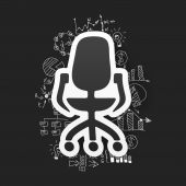 Business formulas with office chair — Stock Vector