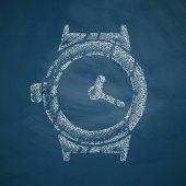 Watch icon on chalkboard — Stock Vector
