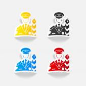 Customs inspector icon — Stock Vector
