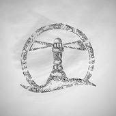 Lighthouse icon on chalkboard — Stock Vector