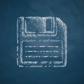 Floppy icon on chalkboard — Stock Vector