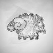 Sheep icon on chalkboard — 图库矢量图片