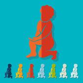 Düz tasarım, heykeli çocuk — Stok Vektör
