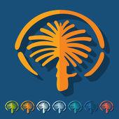 Flat design, palm Jumeirah — Stock Vector