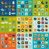 Conjunto de ícones de páscoa — Vetor de Stock