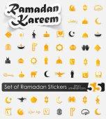 Satz von Ramadan Aufkleber — Stockvektor