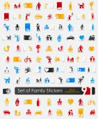 Set of family stickers — Stock Vector