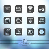 Set of 3d printer icons — Stock Vector