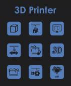 Set of 3d printer simple icons — Stock Vector