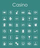 Set van de eenvoudige pictogrammen casino — Stockvector