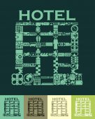 Hotel shaped icon — Stock Vector